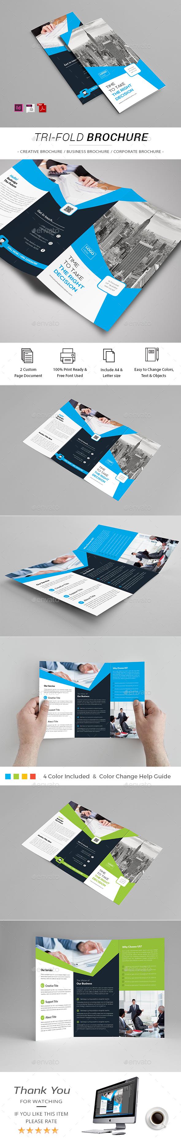 Tri-fold Brochure Template InDesign INDD | Brochure Templates ...