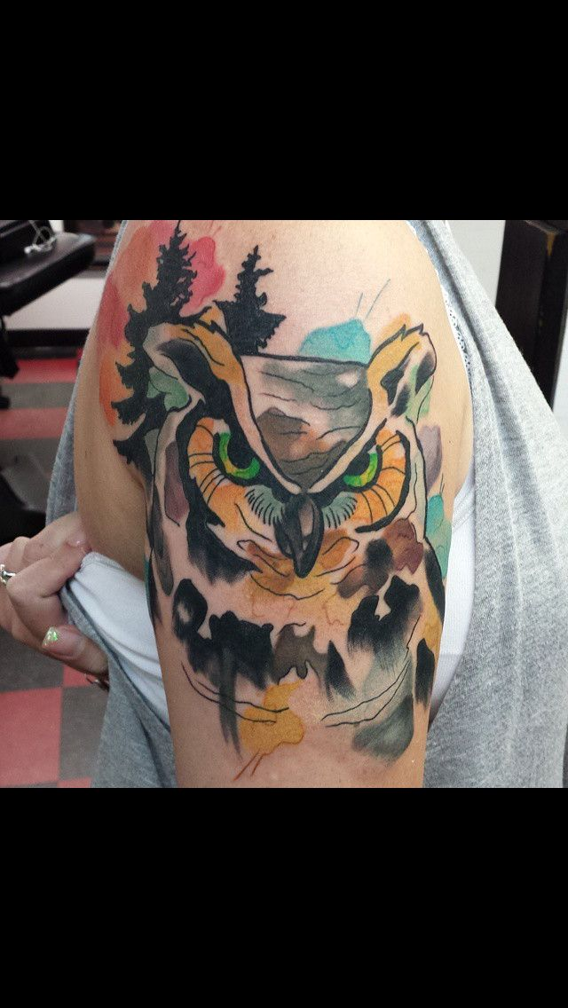 Watercolor owl tattoo by Bethany at Brass Monkey Tattoo Company in ...
