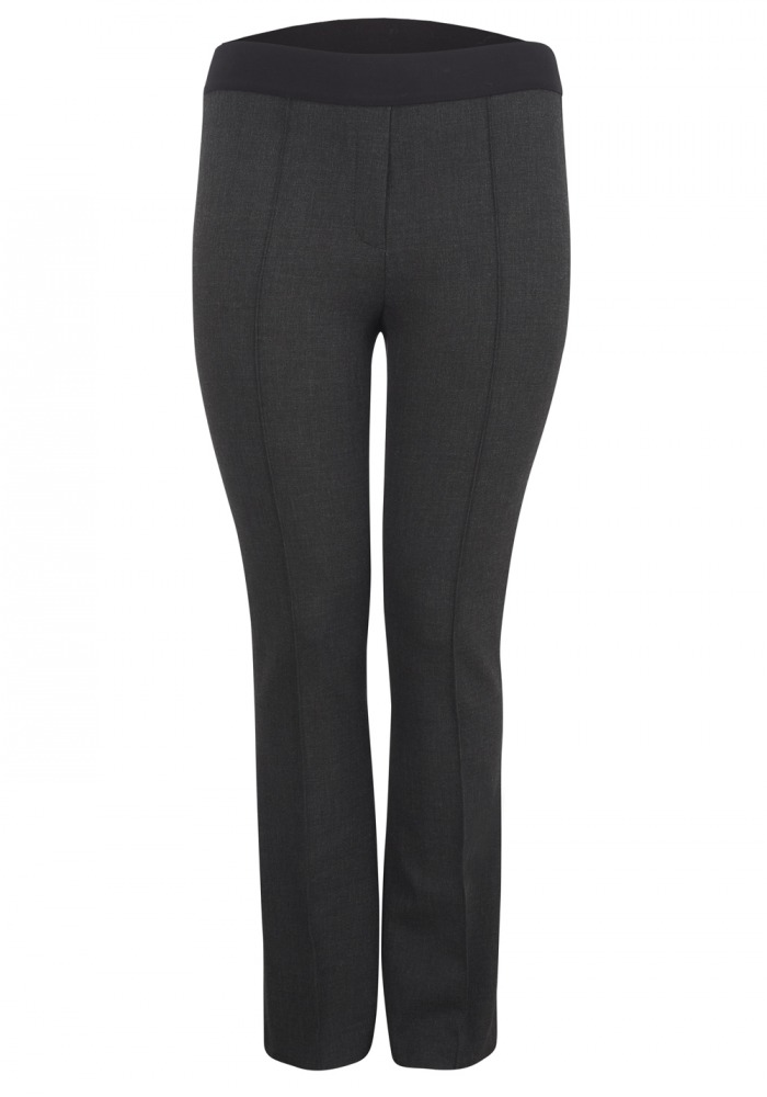 Slim Fit Trouser, Tuxedo Style Waist Band Grey (Lisselle) - SLiNK Boutique - Plus Size Fashion
