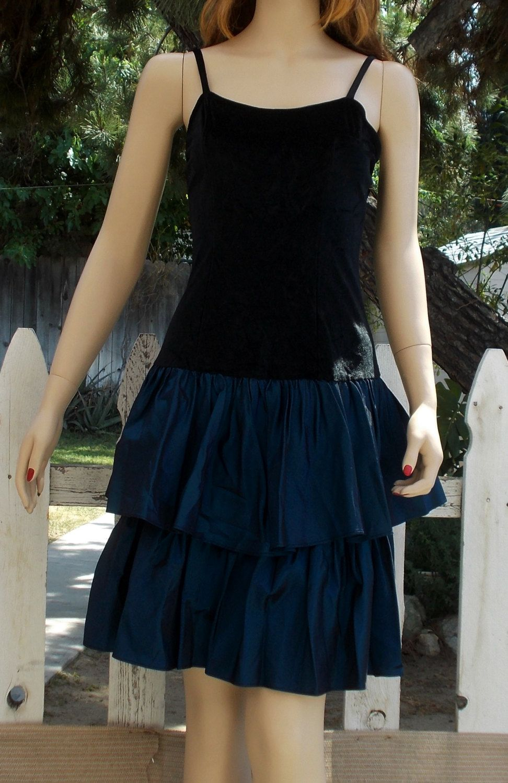 Us womenus cathy hardwick blue taffeta black crushed velvet prom