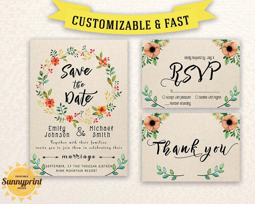 floral wedding invitation template wedding invitation printable