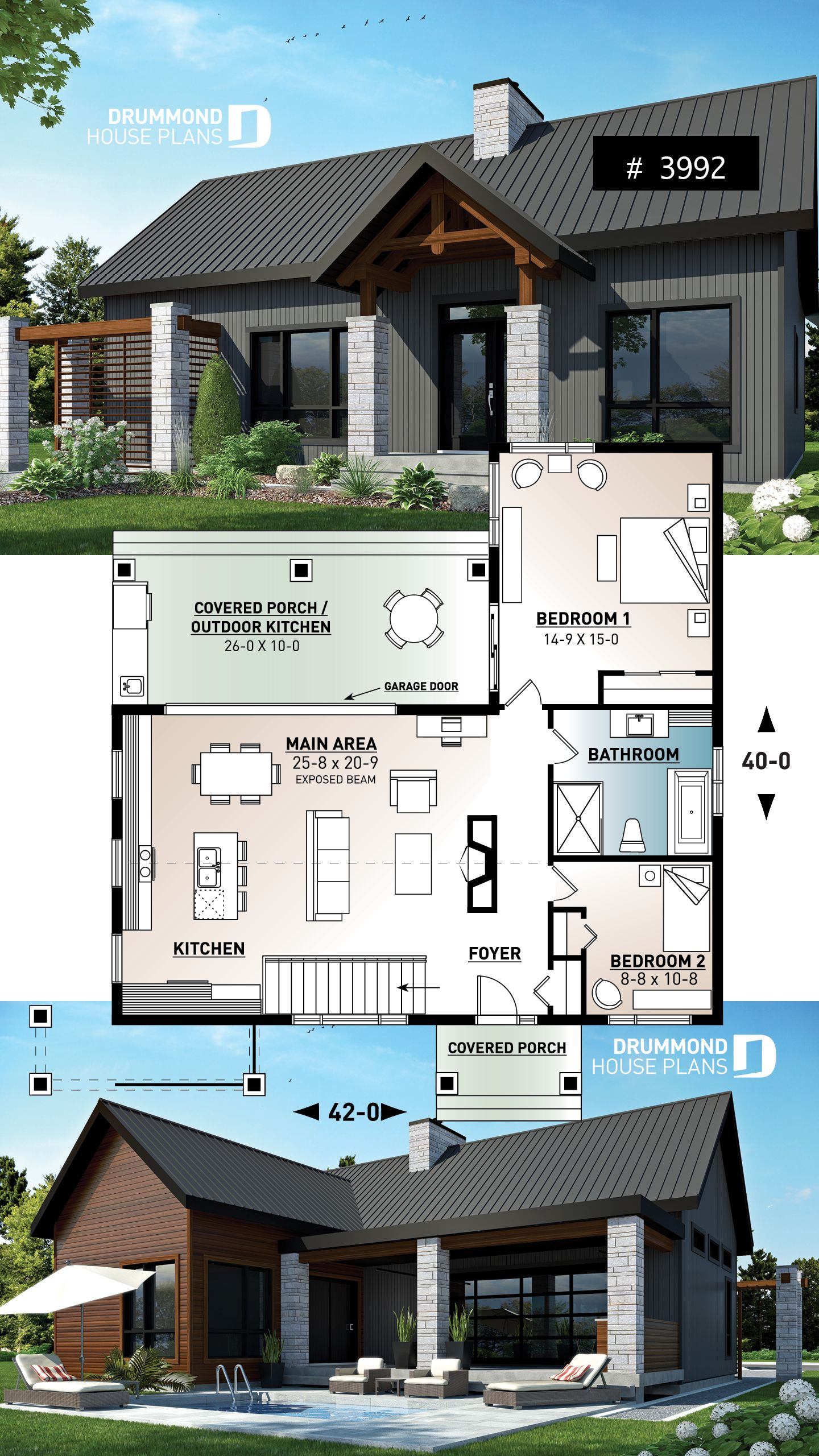 Discover The Plan 3992 Olympe Which Will Please You For Its 2 Bedrooms And For Its Scandinavian Styles Sims House Plans Craftsman House Plans House Design