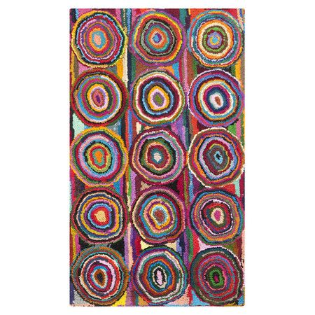 Cotton Rug With A Multicolored Circles Motif Hand Tufted