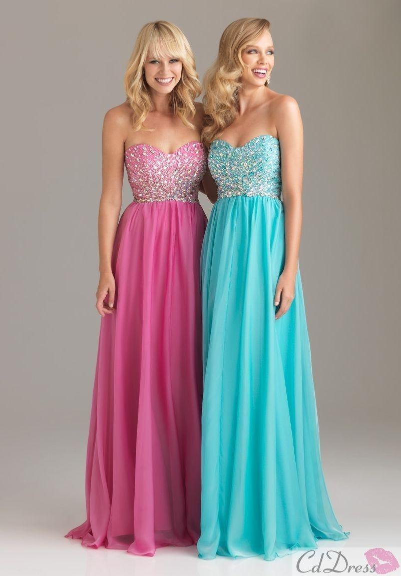 Column sweetheart floor length chiffon with beading prom dresses
