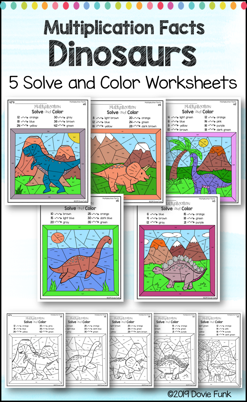 Multiplication Coloring Worksheets Dinosaurs Color Worksheets Multiplication Activities Multiplication [ 1170 x 720 Pixel ]