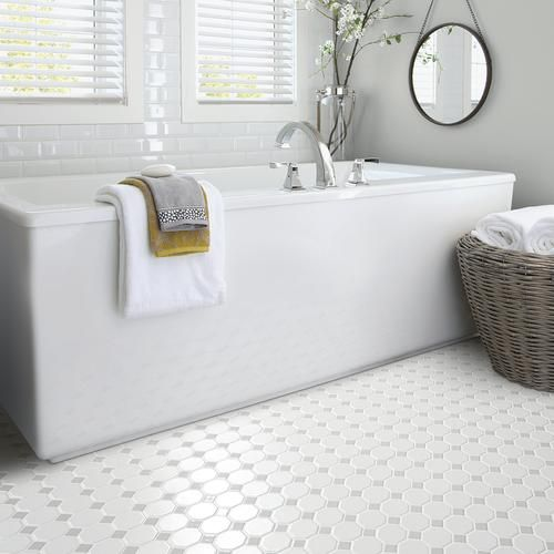 Mohawk Reg Vivant Matte White Gray Dot Octagon 12 X 12 Ceramic Mosaic Tile Br Act Black And White Bathroom Floor Octagon Tile Bathroom Small Bathroom Remodel
