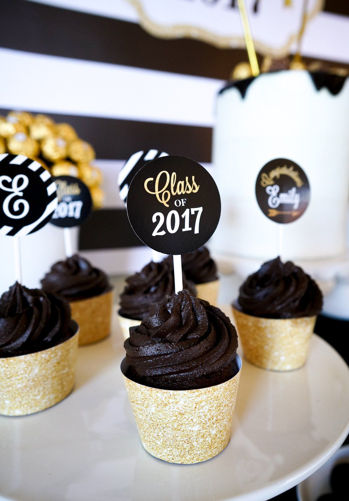 Graduation Cupcake Wrappers Toppers Kit 24 Sets Gold Black White Graduation Pa