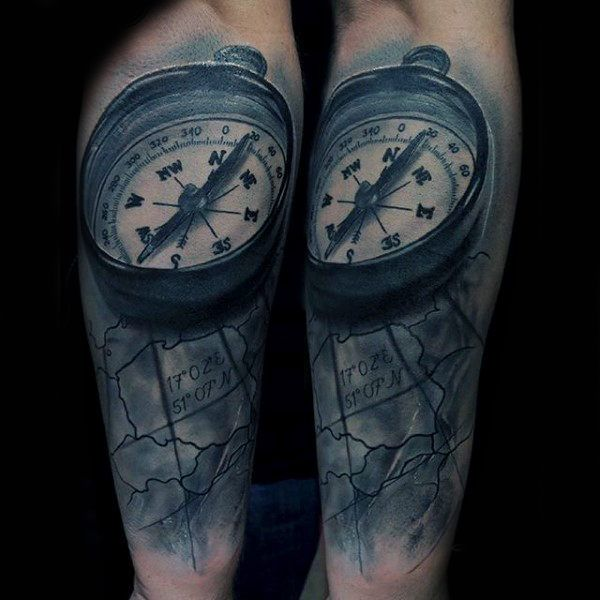 100 forearm sleeve tattoo designs for men manly ink ideas world map with compass forearm sleeves tattoo for men gumiabroncs Gallery