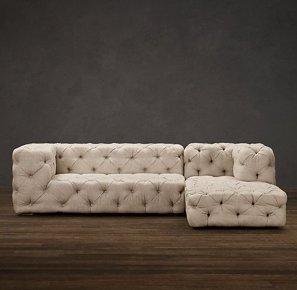 Soho Tufted Upholstered Right Arm Sofa Chaise Sectional Sectionals Restoration Hardware