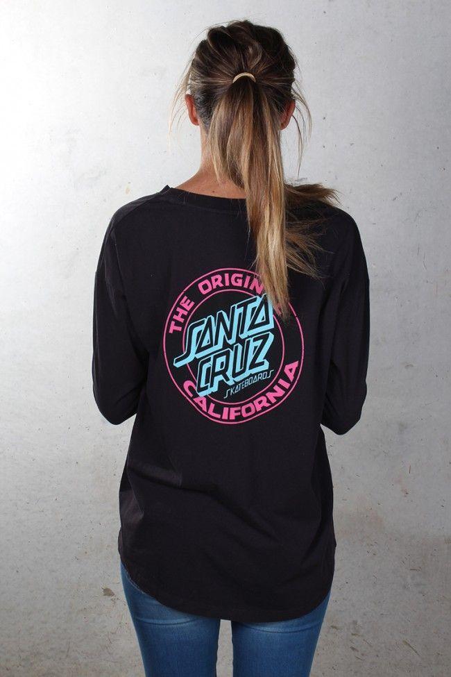 Santa Cruz JORONGO DOT LONG SLEEVE Skateboard T Shirt BLACK LARGE