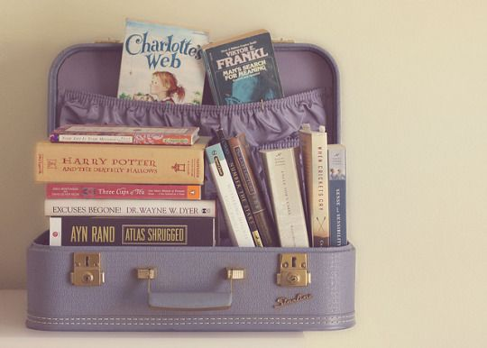 Suitcase of books. Source: weheartit.com