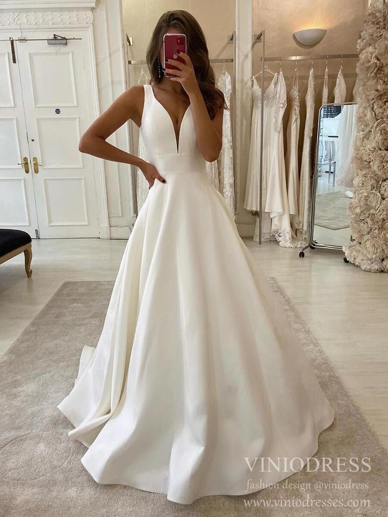 Minimalist A Line Deep V Neck Wedding Dresses Satin Bridal Dress Vw1551 In 2021 Backless Bridal Gowns Online Wedding Dress Wedding Dresses Satin [ 1024 x 768 Pixel ]