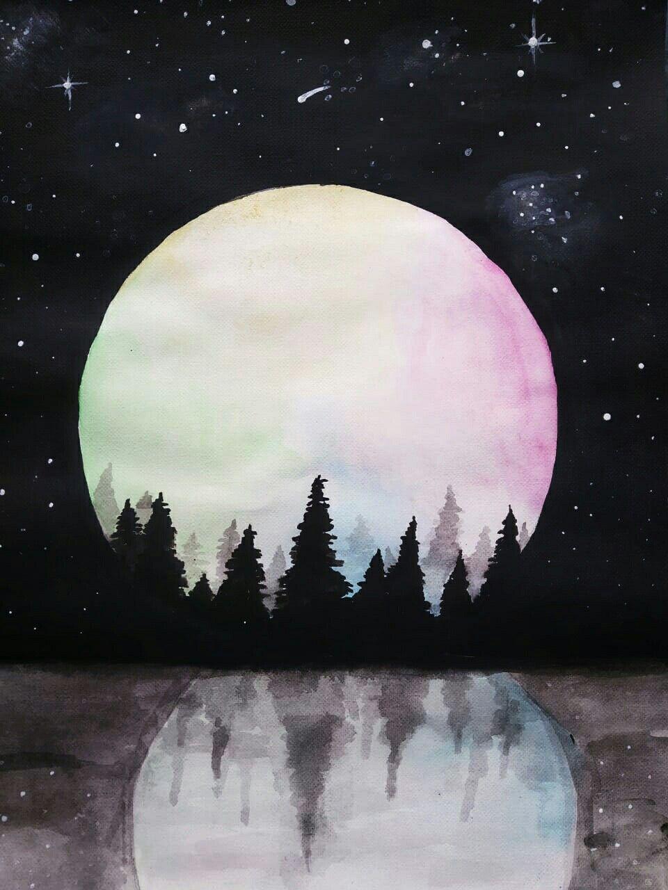 Красивые картинки нарисованной луны