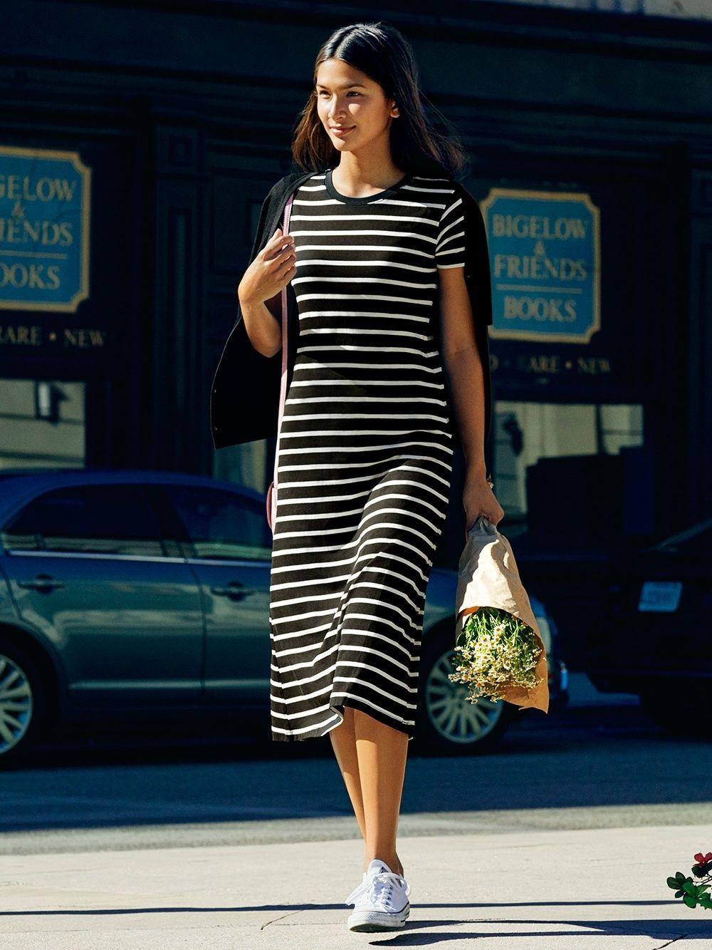 30551cbbc8110 WOMEN Striped Short Sleeve MAXI Bra Dress