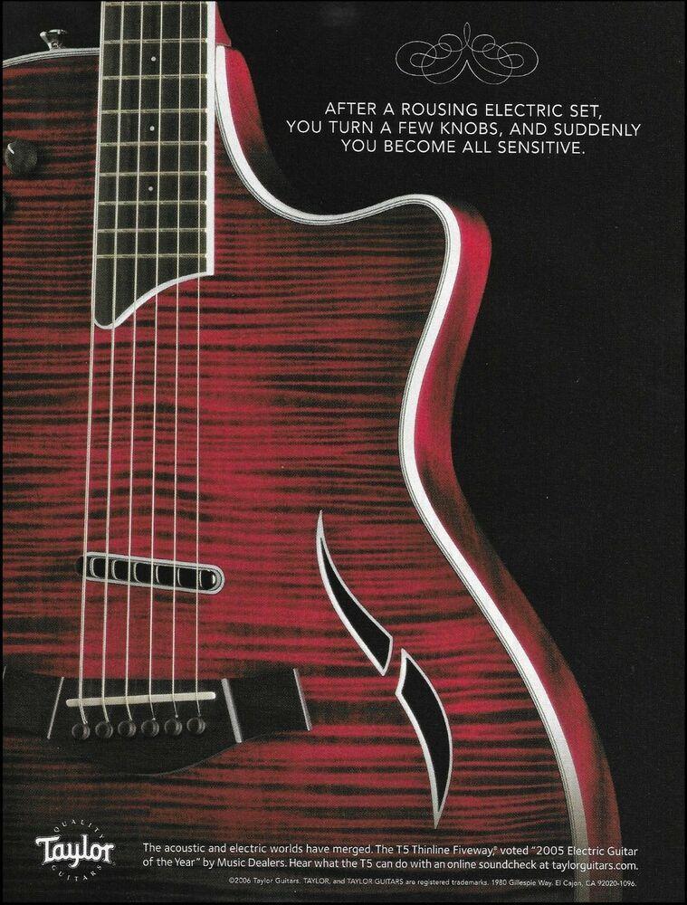 a8f8915a725d Taylor T5 Classic Thinline acoustic electric fiveway guitar 2005 ad print   Taylor