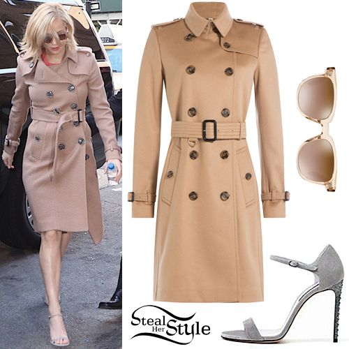 Jennifer Lawrence was spotted arriving at her hotel in New York on Wednesday wearing a Burberry London Cashmere Trench Coat($2,345.00),Oliver Peoples Masek Sunglasses($395.00)and a pair of Casadei Dove Grey Suede Ankle-Strap Sandals (Not available online). You can find a similar trench coat for less at Zappos.