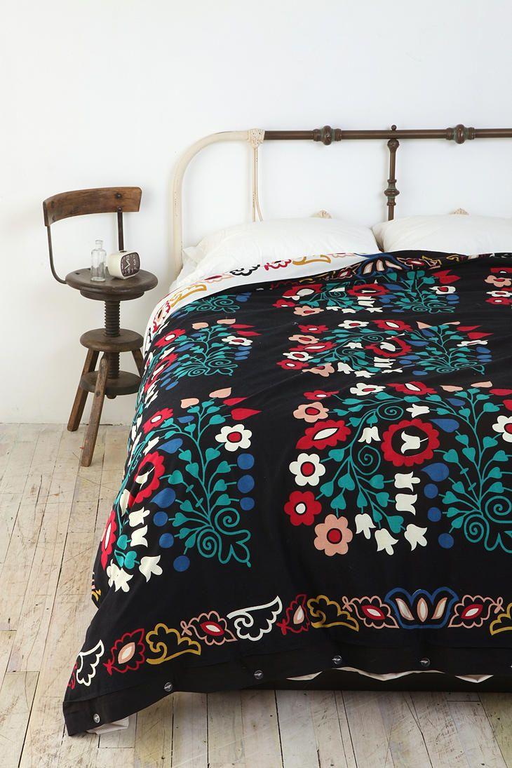 Folk Floral Reversible Duvet Cover Duvet Covers Urban