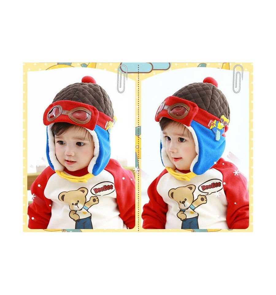 Pilot Hat Brown Red Topi Bayi Dan Anak Lucu Bayi Lucu