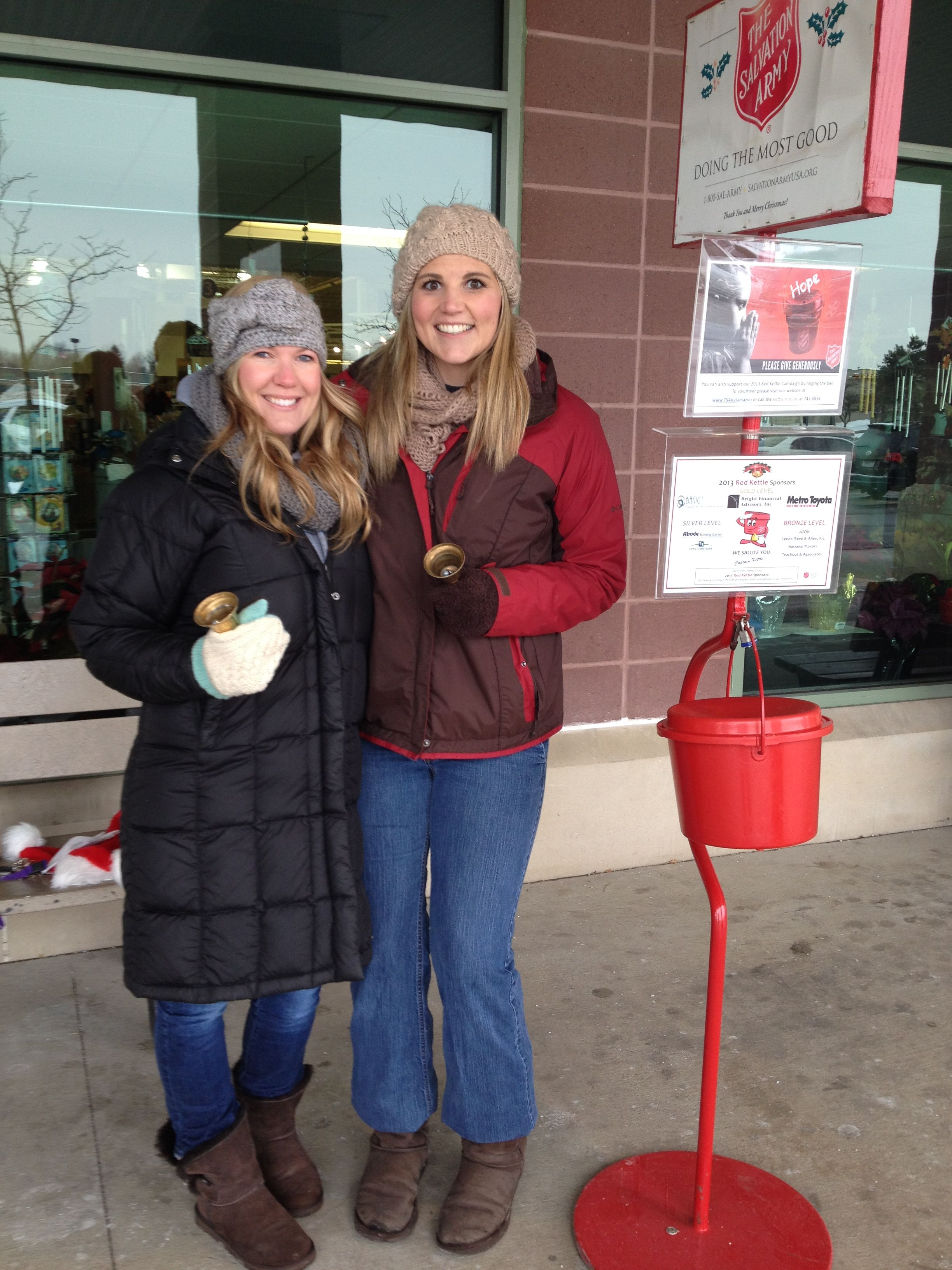 Katie and Dawn bell ringing for the Salvation Army  #givingback  #community  #shoplocal