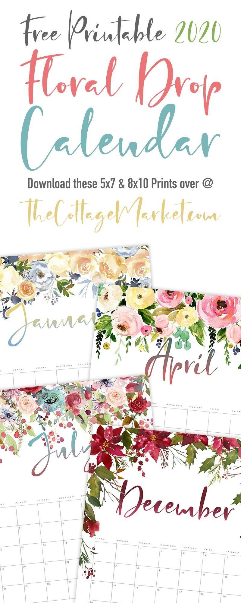 Free Printable 2021 Floral Drop Calendar The Cottage
