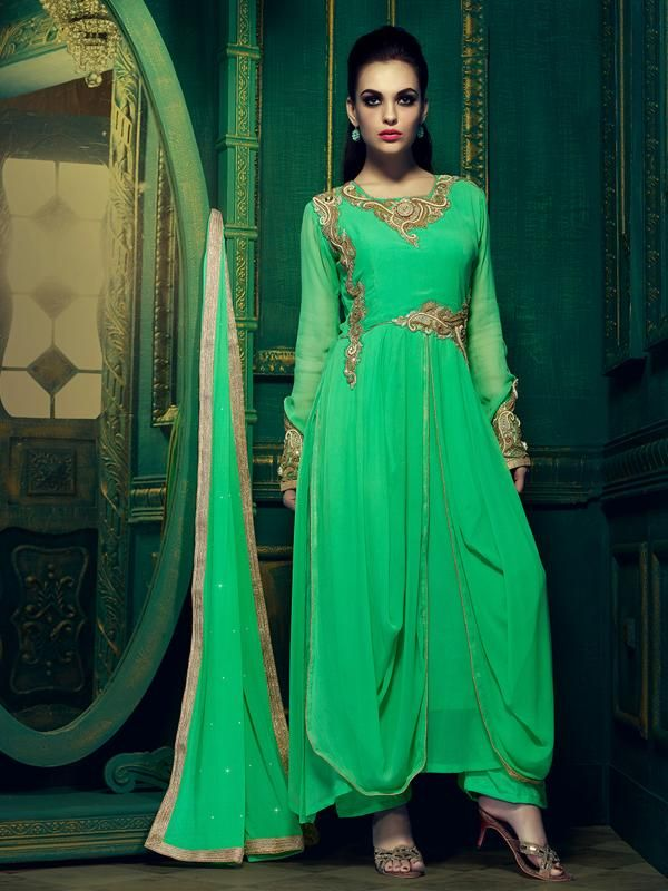 http://www.istyle99.com/Salwar-Suit/Green-Semi-Stitched-Faux-Georgette-Anarkali-Salwar-Kameez-5788.html Green Semi Stitched Faux Georgette Anarkali Salwar Kameez -Rs 2564 Kameez Colour: Green Bottom Colour: Green Dupatta Colour: Green Kameez Fabric: Faux Georgette Bottom Fabric: Santoon Dupatta Fabric: Chiffon Inner:Santoon Work Style: Patch Patti, Embroidery (Mtr in case of Unstitched): 48 CUSTOMIZED UP TO: 44 Style: Anarkali