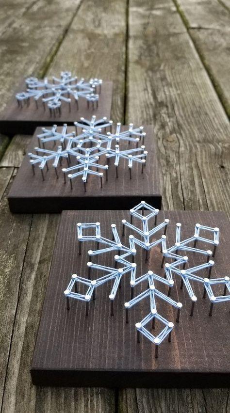 Snowflake String Art / Christmas Decorations / Hol