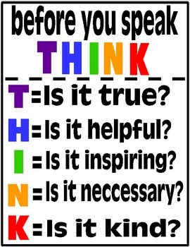 Think Poster Prevent Gossip In Your Classroom Think Poster