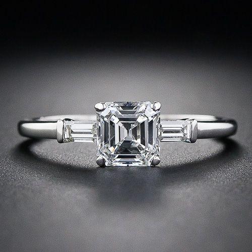 A bright-white and glistening square emerald-cut diamond - sometimes  referred to as