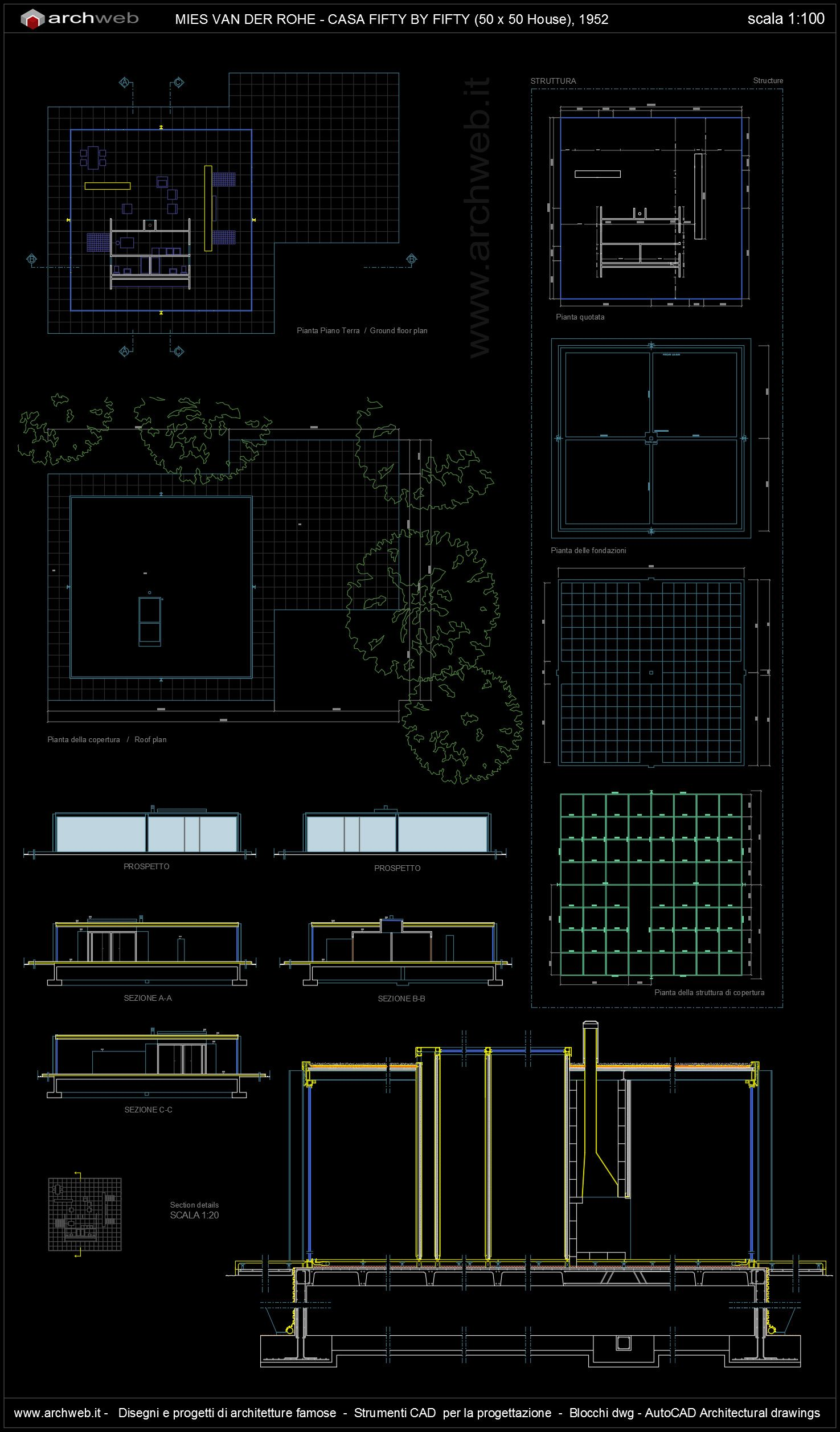 fifty by fifty house Autocad dwg fifty