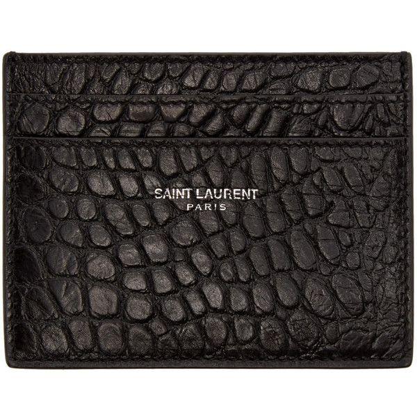 hot sale online e5153 30804 Saint Laurent Black Croc-Embossed Card Holder (430 BGN) ❤ liked on ...