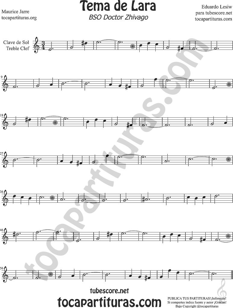 Tema De Lara Partitura De Clave De Sol Flauta 2c Trompeta 2c
