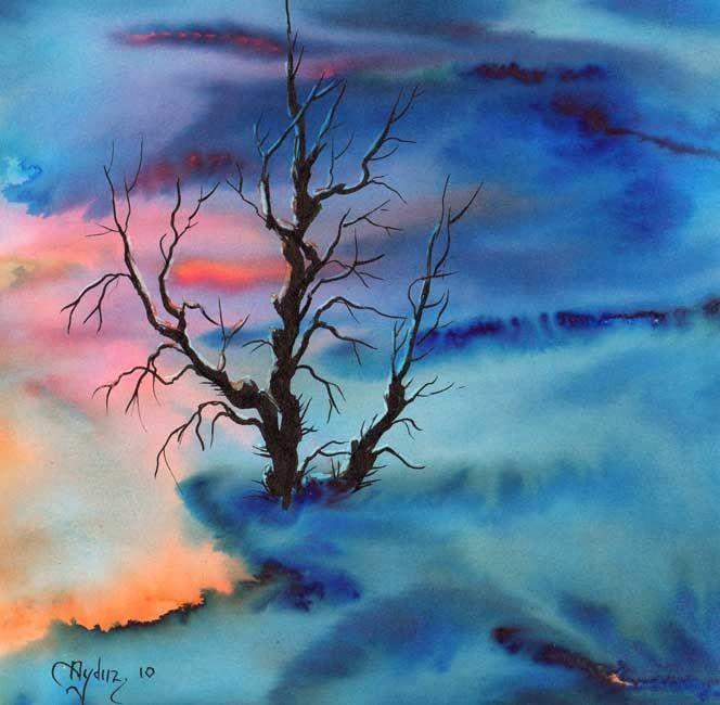 "Saatchi Online Artist: Aydin Baykara; Watercolor, 2010, Painting ""Sunset"""