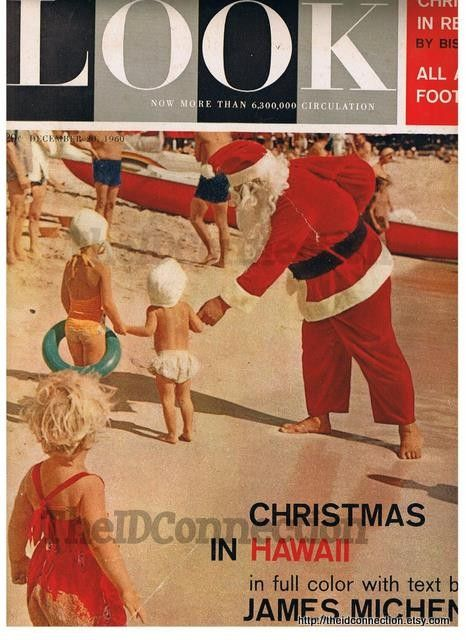 1960 LOOK Magazine Cover Page, Santa on Beach in Hawaii Christmas retro 60's Xmas ripe for mixed media scrapbooking