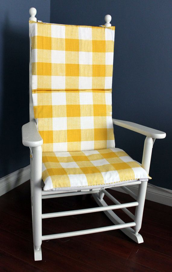 Rocking Chair Cushion Yellow Gingham Grey By Rockincushions