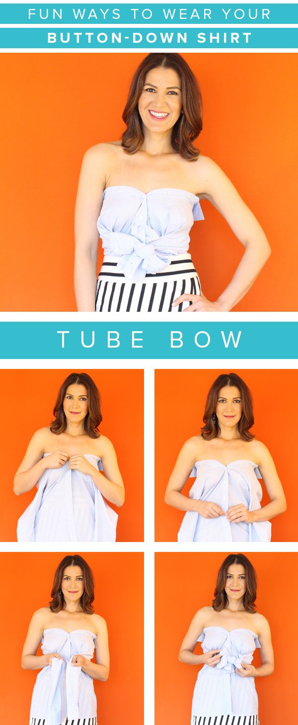 e77745b42ea A button-down shirt can be turned into tube top by changing up the way you  tie it. Follow these easy steps.