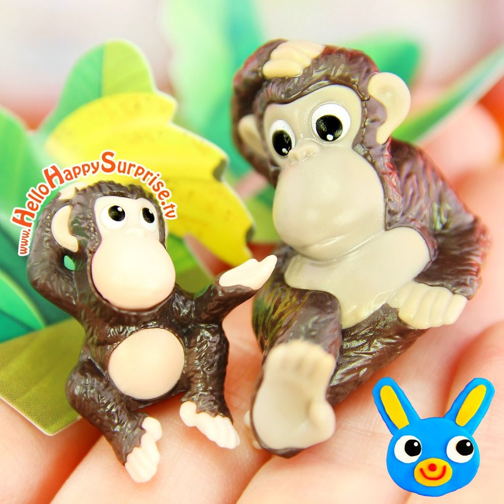 Monkey Mama and Baby - adorable toy figures from a Kinder Surprise Egg ♥ https://www.youtube.com/c/HelloHappySurprise