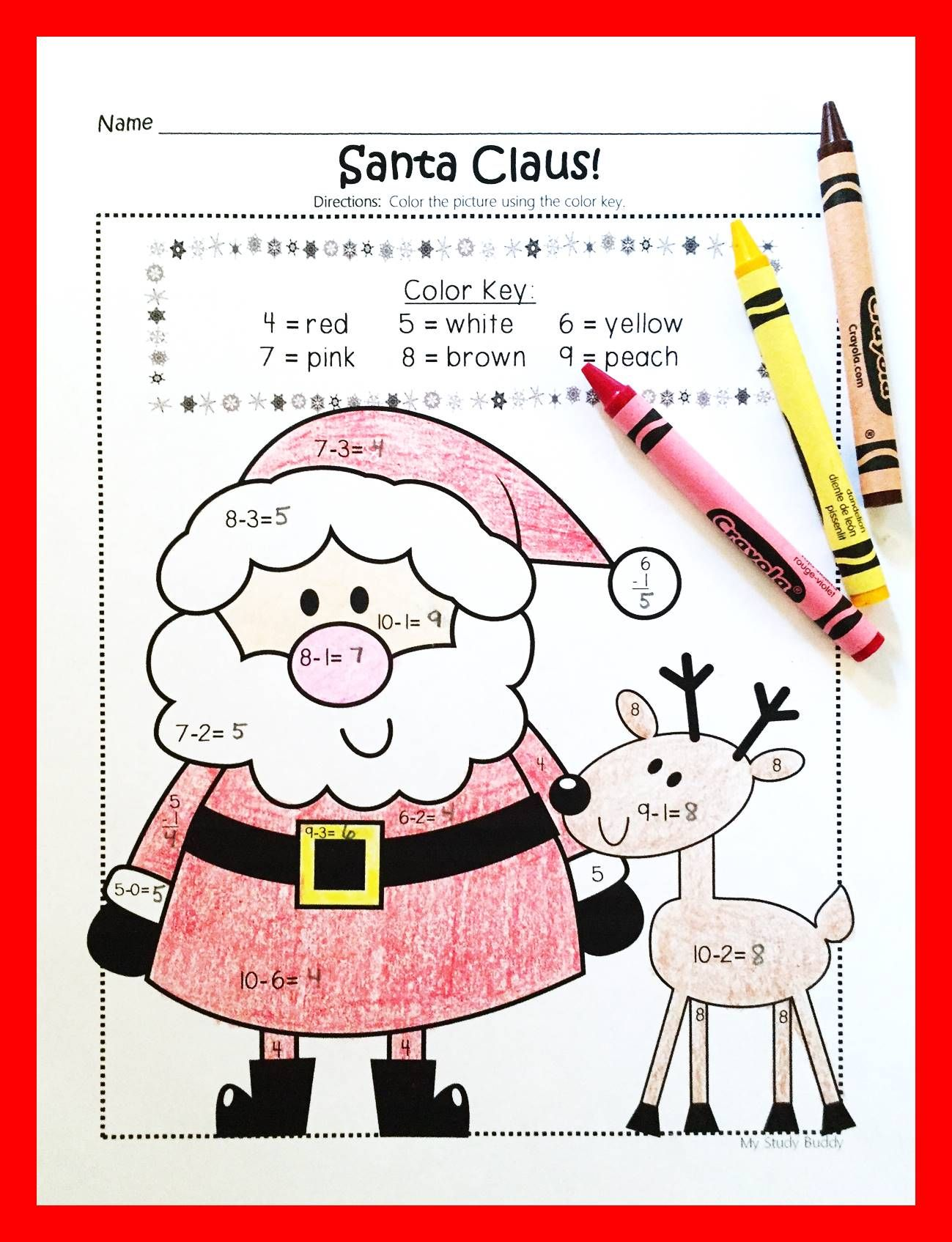 Christmas Color By Number Addition Amp Subtraction