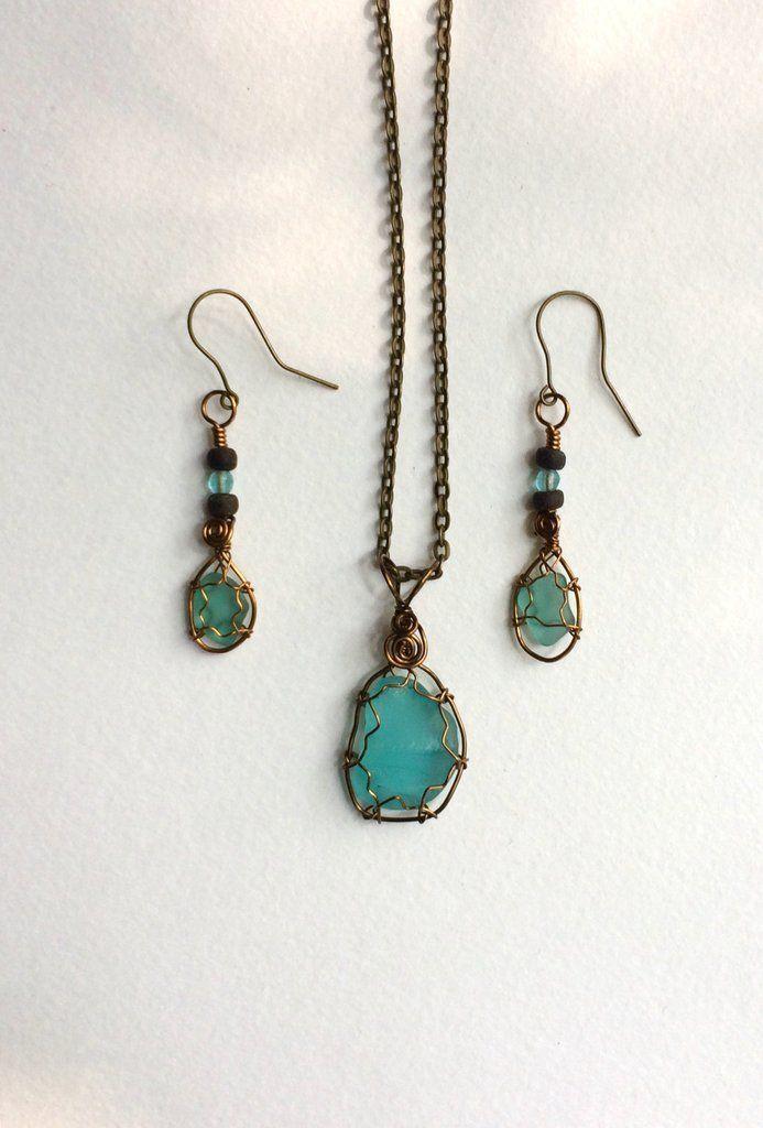 Photo of Brilliant Blue Beach Glass Jewelry Set Intense and bright Aqua Blue Genuine Sea Glass Oh …