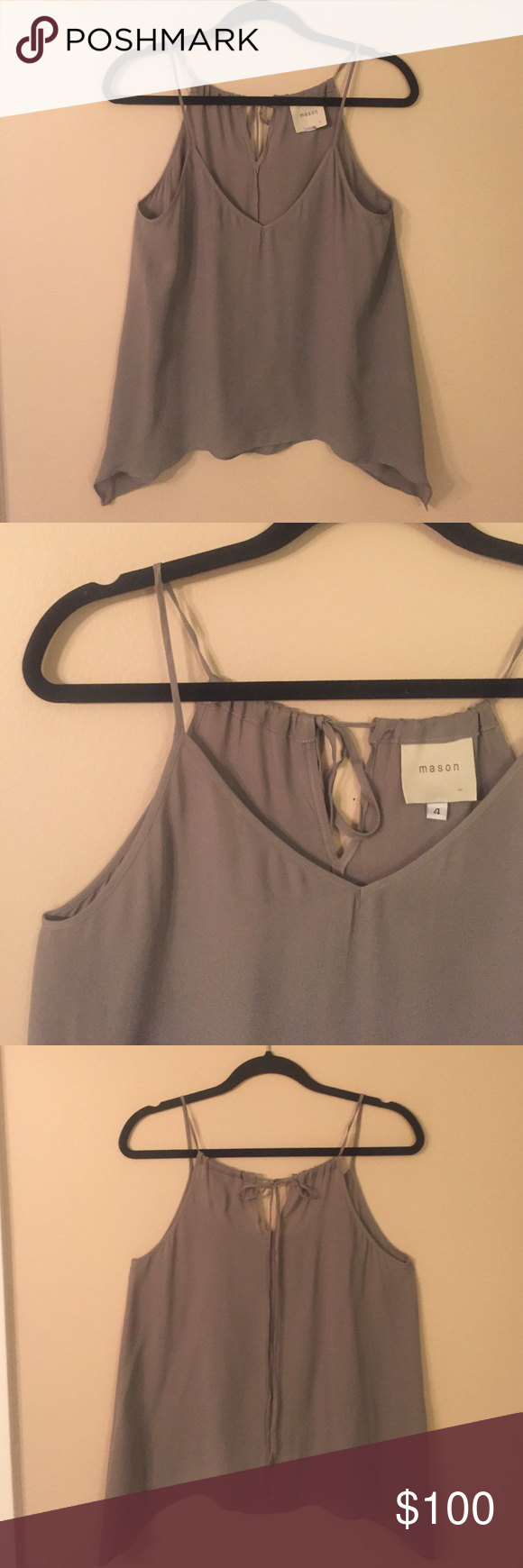 """MASON by MICHELLE MASON Silk Tank EUC!! Gorgeous grey washed silk tank with adjustable spaghetti straps that tie in back. Tank has a deep v neckline and longer points at hem at sideseams. Laid flat chest measures 17"""", length from shoulder to hem is 24"""". mason by Michelle Mason Tops Tank Tops"""