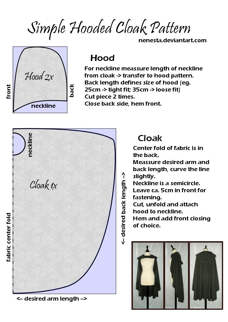 Simple Hooded Cloak Pattern by ~Nenesta on deviantART A super easy ...