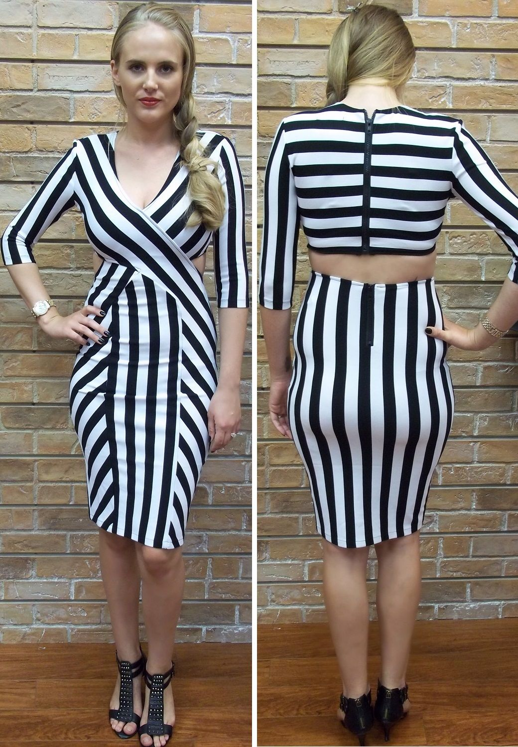 c46a281c0787f Form Fitting Black and White Striped Dress with Cut Outs ~ Apricot Lane  South Florida