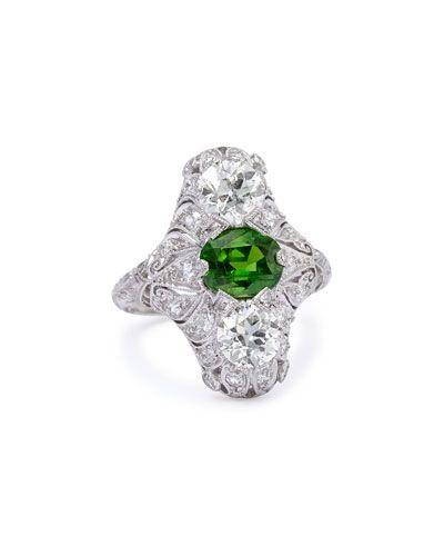 P5985 NM Estate Jewelry Collection Estate Edwardian Demantoid Garnet Dinner Ring, Size 6