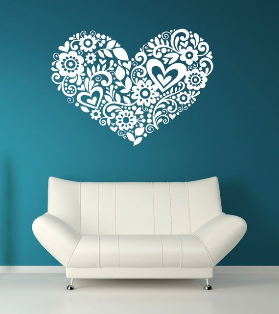 Heart of hearts, flourishes, leaves and flowers, vinyl decal, wall art, sticker. So Cute in your baby daughters/girls nursery or bedroom. Also