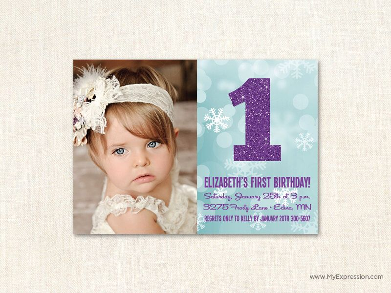 Winter ONEderland Invitations Snowflakes First Birthday - 1st birthday invitations girl purple
