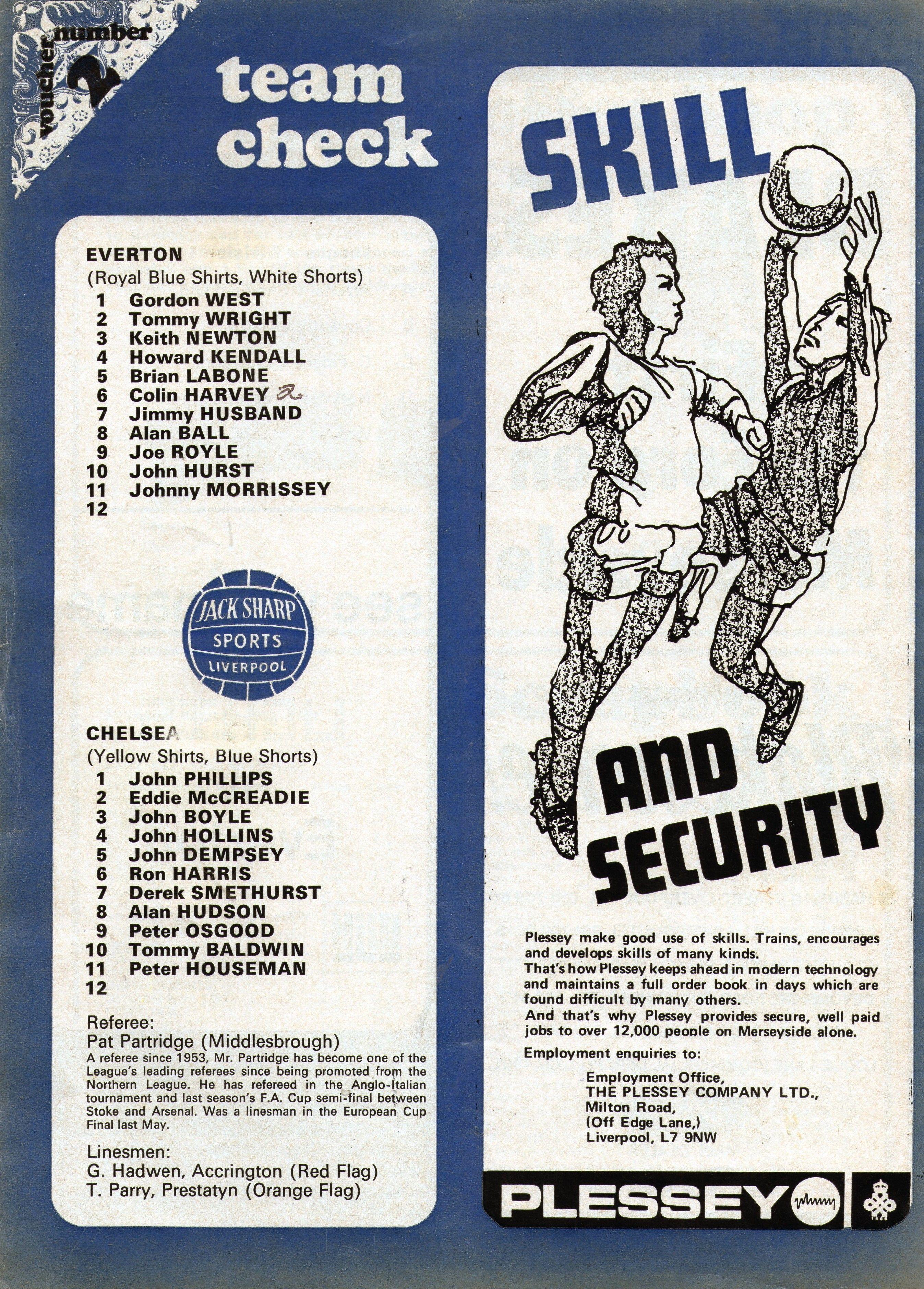 Everton v Chelsea 197172 match day programme team sheet