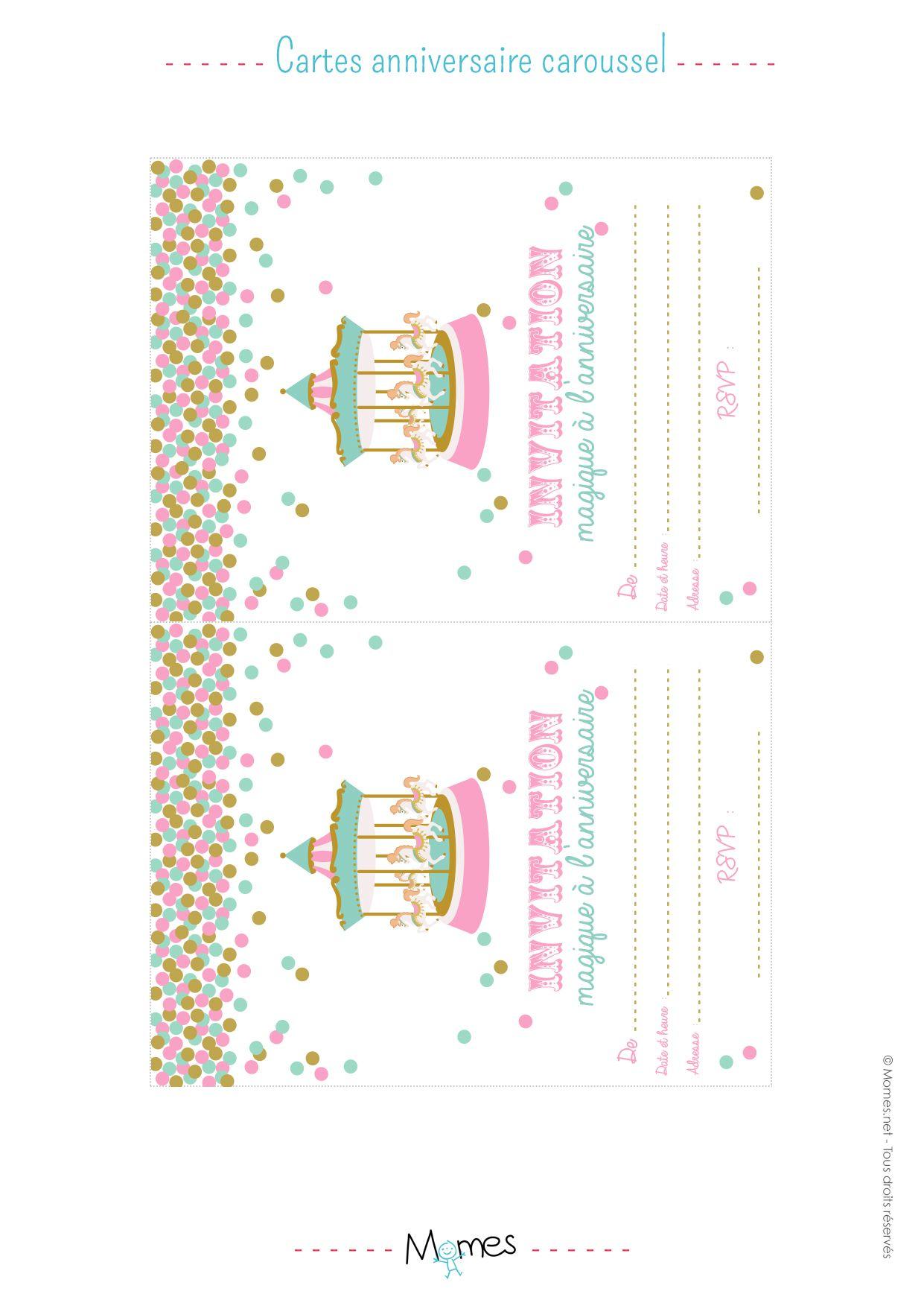 Invitation Anniversaire Fête Foraine à Imprimer Unicornio