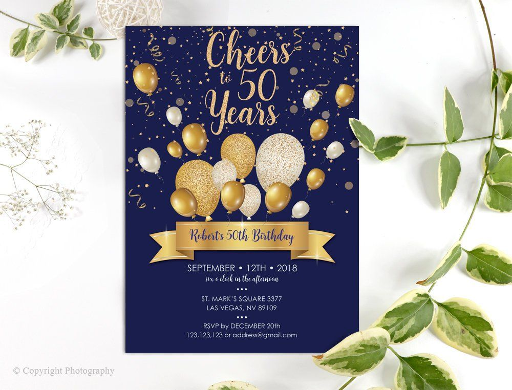 navy and gold 50th birthday invitation template any age blue gold