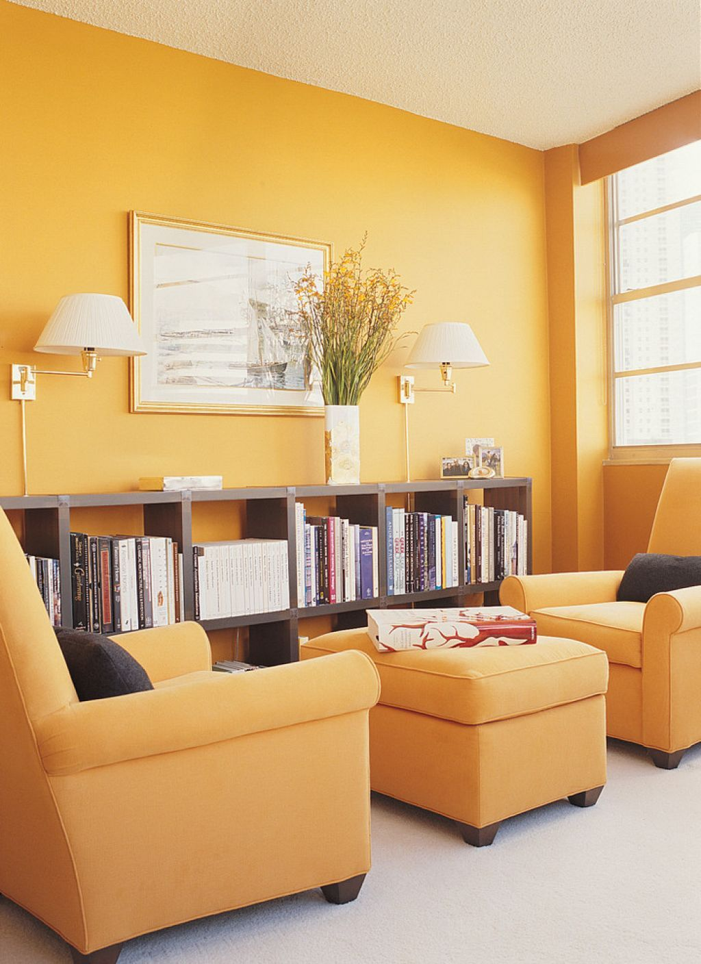 Home Library With Yellow Walls And Wall Sconces : Arrange Your Wall ...