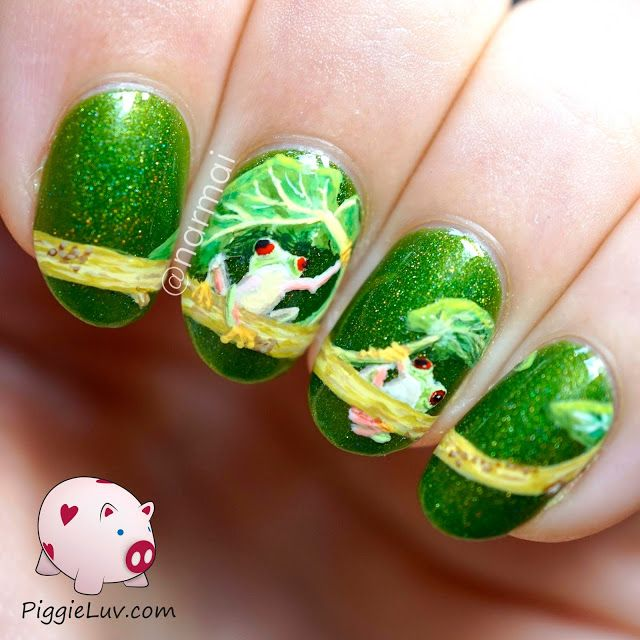 Frog Nail Art: Freehand Red-eyed Tree Frog Nail Art