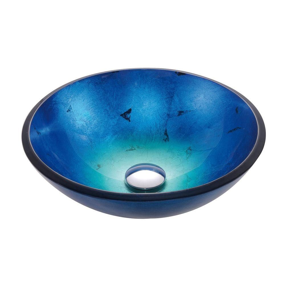 Kraus Irruption Glass Vessel Sink In Blue Gv 204 With Images